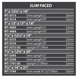 Slim face size list